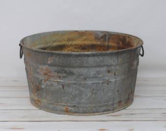 Galvanized Tub Wash Tub #2 Bucket Metal Handle Galvanized Metal Mop Bucket CT2