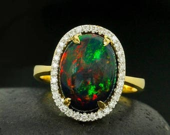 ON SALE Halo Diamond Black Australian Opal Ring - Neon Green Flecks - Green Fire Opal Ring