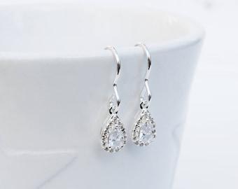 Silver & Cubic Zirconia Drop Earrings, Sterling Silver