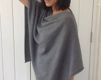 Mid grey 100% cashmere poncho