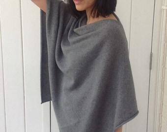 Grey 4ply 50/50 Cashmere Silk Poncho