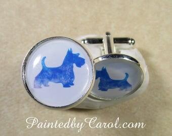 Scottish Terrier Cufflinks, Scottie Dog Silhouette Cuff Links, Scotty Mens Gifts, Scottish Terrier Gifts, Scottie Gifts, Scotty Gifts