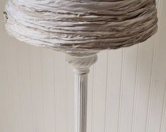 Tall Table Lamp White Distressed Pale Grey Silk Rag Ribbon Victorian Cottage Shabby Upcyclesisters
