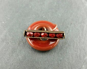 Red handmade glass toggle clasp