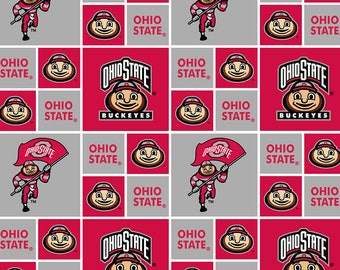 Ohio State University 100% cotton fabric-Ohio State Buckeyes Cotton Fabric with Geometric Pattern Print-Sold by the Yard