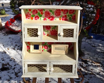 Furniture, Farmhouse, Hutch, Curio, Cabinet, Knick Knack, Shelf, Rustic Shelves, Chicken Wire, Decoupage Cabinet, Powder Room, Storage, Boho