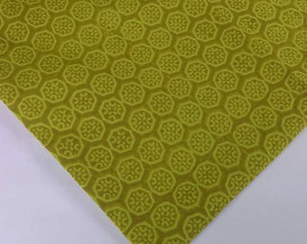 Chartreuse Soft Cotton Floral Print Fabric - Hand Block Printed Indian Cotton Fabric - Dress Fabric-Printed Dress Cotton Fabric by Yard