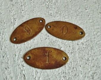 "3 Vintage Brass Number ""0, 1, 6 or 9"" Tags"