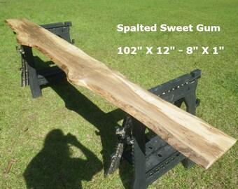 FINISHED Spalted Sweet Gum Live Edge Shelf, Tree Slice Slab Ready For Use, Natural Edge Shelving, Wooden Book Shelf, Artistic Bar Top 9034