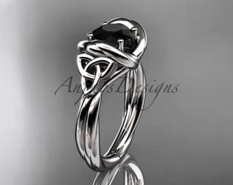 Platinum trinity celtic twisted rope wedding ring with a Black Diamond center stone RPCT9146