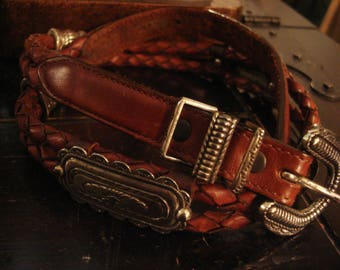 Vintage 1990s Distressed Braided Leather Concho Belt