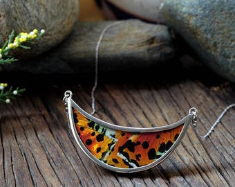 Real butterfly necklace Gift insect jewelry Woodlands necklace Insect jewelry Half moon necklace Crescent necklace Best statement necklace