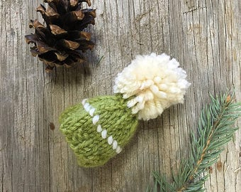 Green Miniature Knit Hat- Olive, Chartreuse, Lime- Hand Knit- Mini Cap- Christmas Decor, Doll Hat, Pet, Bear
