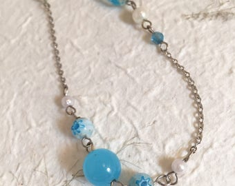 Blue Bead and Silver Chain Bracelet, Handmade