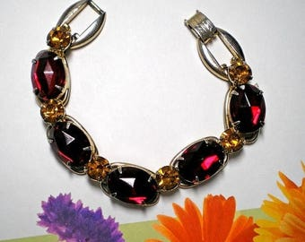 15% OFF SALE 1960s Vintage D&E aka Juliana Bracelet Red and Amber