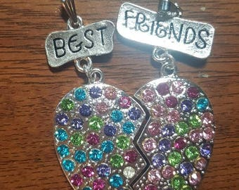 Rhinestone Best Friends Pendant, DIY Chunky Bead Necklace Charm, BFF, Besties