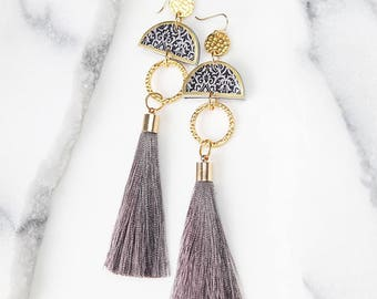 LIMITLESS LUXE Half Moon Tassel Art Earrings - BLACK silk tassel or grey - Next Romance Jewels Melbourne Australia boho gypsy gold silver