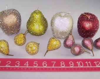 12 Pc Artificial LifeSize BEADED Fruit 1 Pear 3 Apples and 8 Small Pears Sugar Glitter