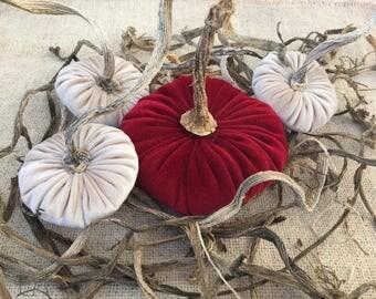Velvet Pumpkins Tnanksgiving Table Centrtpiece Decor, Fall Home Accent Decor, Halloween Decor - set of four