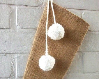Cyber Monday sale Stocking, Burlap/Hessian Christmas Stocking with Handmade Pom-Poms in Natural Wool