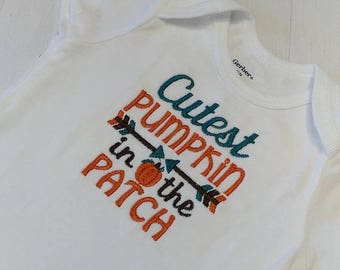 Cutest pumpkin in the patch 2 embroidered t shirt for girls