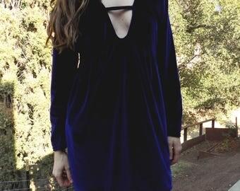 Blue Velvet- Vintage 90s- mini dress - size Small- blue