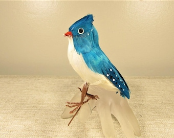 Aqua Blue Feather Bird - Vintage White Dot Enamel Ornament
