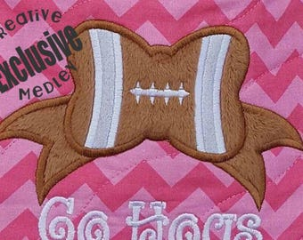Football Bow Applique EMBROIDERY DESIGN -instant download