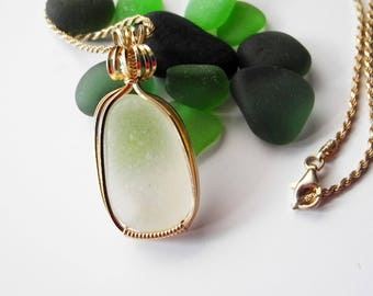 White Sea Glass Pendant, Beach Glass Necklace, Seaglass Necklace, Genuine Sea Glass, Sea Glass Jewelry, Gold Wirewrap Pendant