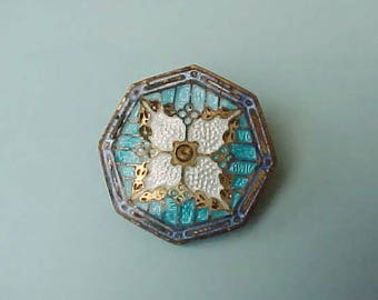 Beautiful Antique Champleve Enameled Brooch Part for Project