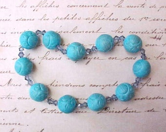 Pretty Ceramic and Crystal Beads in Turquoise and Sky Blue