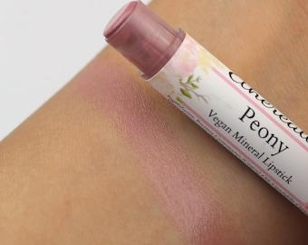 "Vegan Lipstick - ""Peony"" (semi sheer light pale pink) natural lip tint, balm, lip colour mineral lipstick"