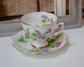 Royal Standard Scots Emblem Lavender Thistle Tea Cup and Saucer