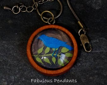 Wooden Backed Glass Tile Pendant Necklace Accessories Natural Wooden Pendant Bluebird on Branch Winter Bird