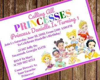 Disney Princess Birthday Party Invitation Download - Disney Princess Invitation - 4 x 6 - Print