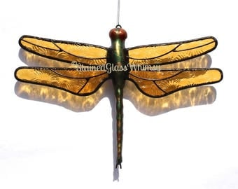 Stained Glass DRAGONFLY Suncatcher, Amber Wings, Textured Pressed Glass , Handcast Metal Body , USA Handmade, Amber Dragonfly, Amber Firefly