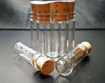 50% OFF 100 Medium Glass Bottle Vials with Cork. Size 1.3/4 inch tall Vial. Item - 1545