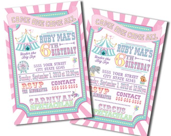 Pink Pastel, Baby Carnival or Circus Invitations