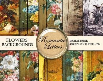 Sale 60% Floral digital printable decoupage paper digital scrapbook paper pack rose flower background paper pack painting digital printable