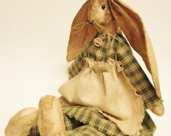 Primitive Rabbit Doll, Folk Art Rabbits, Easter Bunny, Primitive Dolls, Handmade Rabbits, Spring Decor, Easter Decor