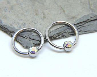 """Nipple Rings SET of 2 - Inlaid Crystal Captive Ring - AB Finish - CBR 16 or 14 Gauge 3/8"""" 7/16"""" 1/2"""" 5/8"""" Nipple Bars - For Any Piercing"""