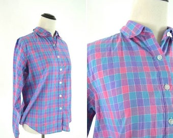 SUMMER SALE Vintage 70's Purple Plaid Blouse - Long Sleeve Casual Cotton Shirt - Folded Collar Dress Top - Ladies size 8