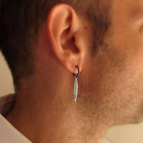 Mens Earring Single Feather Earring For Men Men S