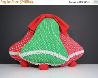 ON SALE Christmas Bells Wall Hanging // Vintage Retro Handmade Red and Green Patterned Fabric Interior Door Hanger Decoration Festive Holida