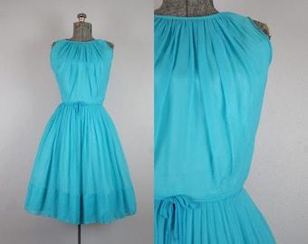 1960's Turquoise Blue Chiffon Party Dress / Size Medium