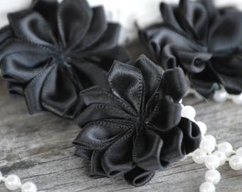 "Black 1.5"" Satin Flowers,  Petite Satin flower, Satin Ribbon Flower, Fabric Flower, Ribbon Flowers, Fabric Flowers"