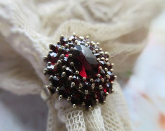 Vintage Bohemian Garnet 900 Silver Gilt Ring - European Silver Garnet Ring - Fine Estate Jewelry - January Birthstone - Gemstone Ring - Love