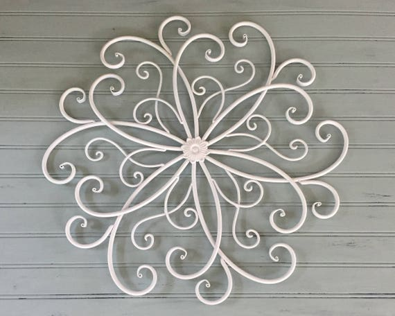 White Tin Wall Decor : White metal wall hanging large decor decorative