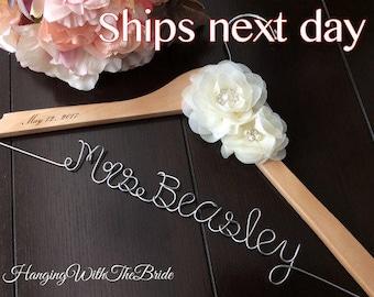 Personalized Wedding hanger, custom hanger, bridal hanger, bride gift, custom hanger, wire hanger, wedding hanger, Rush order, Bride gift