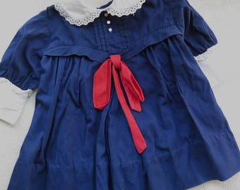 1960s Girl's Holiday Dress Vintage Navy Blue Cotton Red Bow White Collar Cuffs Lace Buttons Nannette Style Christmas Dress Toddler Size